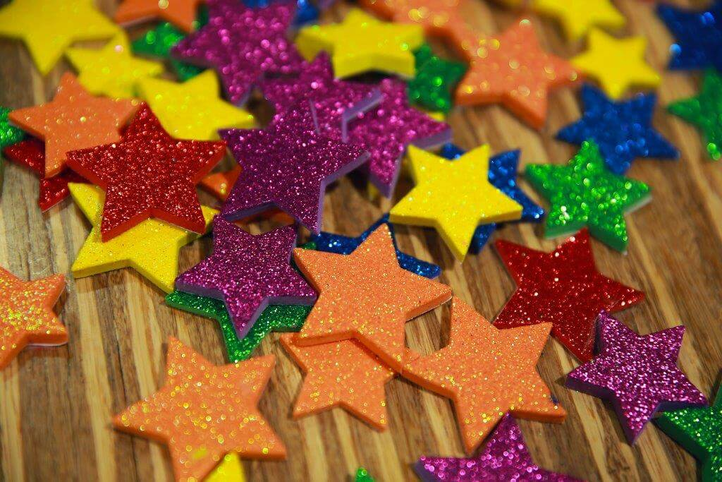 Colorful stars with glitter